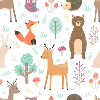 Forest seamless pattern with cute animals - fox, deer, bear, rabbit, hedgehog and owl.