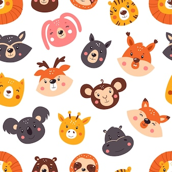 Forest seamless pattern with cute animals. pattern.