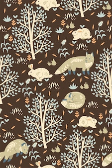 Forest seamless pattern with foxes and hares.