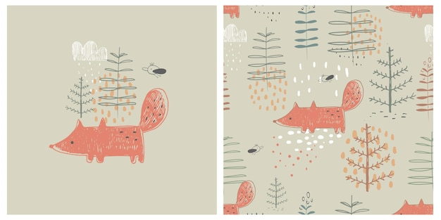 Forest seamless pattern with funny fox  hand drawn vector illustration for kids fabric wrapping