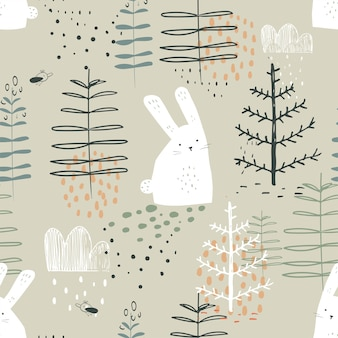 Forest seamless pattern with funny rabbits hand drawn vector illustration for kids fabric wrappin