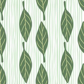 緑の落書きの葉のシルエットプリントと森のシームレスなパターン。青と白の縞模様の背景。