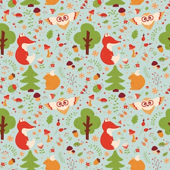 Forest seamless pattern with hand drawn animals, flowers and plants. background