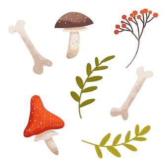 Лесной набор из грибов, веточек и костей на хэллоуин