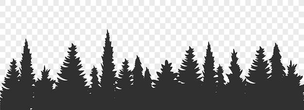 Лесной силуэт. панорама хвойных елей. векторная иллюстрация. бесшовные сосновый лес
