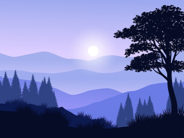 Forest silhouette landscape with mountain