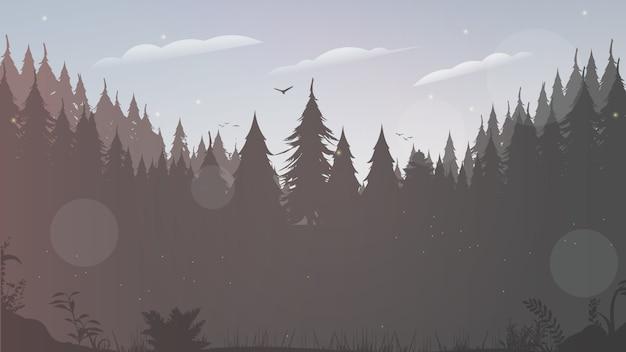 森のシルエット。木や鳥のシルエット。テキストの背景。