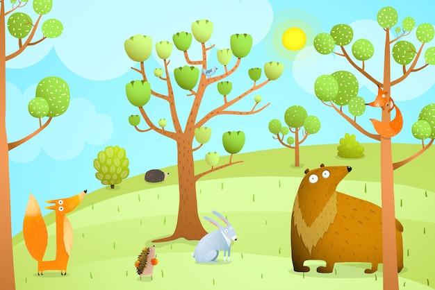動物と森の夏の風景