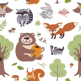 Forest summer plants and woodland animals seamless pattern