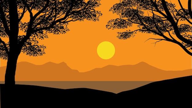Лесной закат с фоном природы силуэт дерева