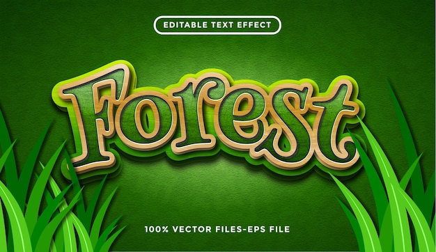 Forest text effect, editable cartoon and forest text style premium vector