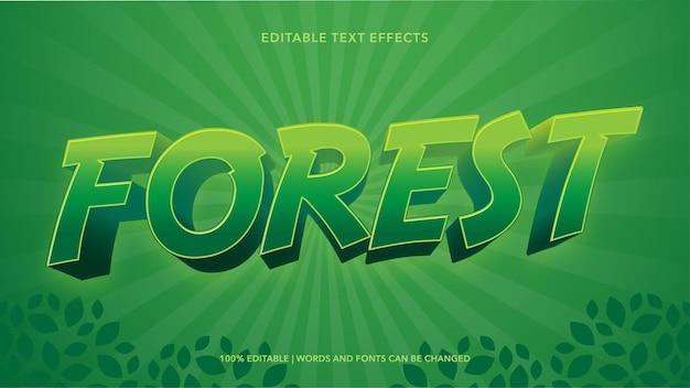 숲 텍스트 효과 템플릿 디자인