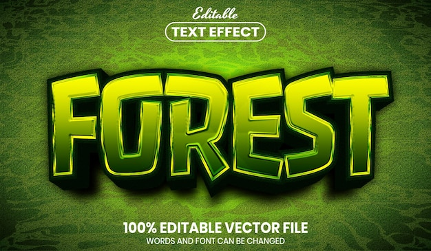 Forest text, font style editable text effect