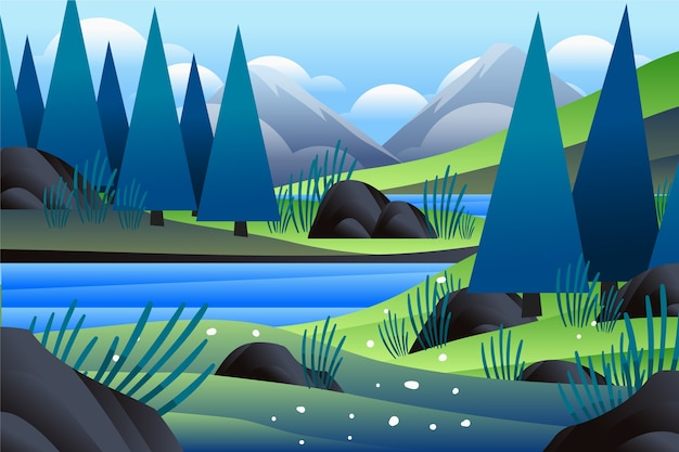 森の木と川の春の風景