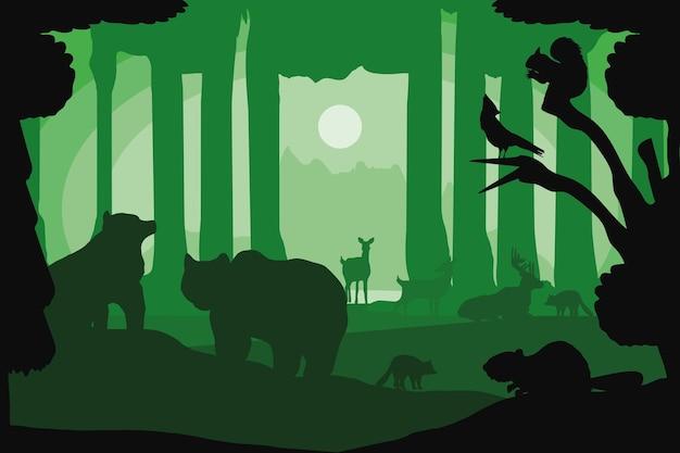 森の木々動物植生シルエット