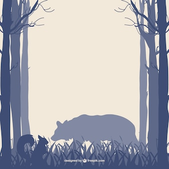 Forest trees bear and squirrel silhouettes