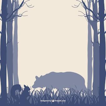 숲 나무 곰과 다람쥐 실루엣