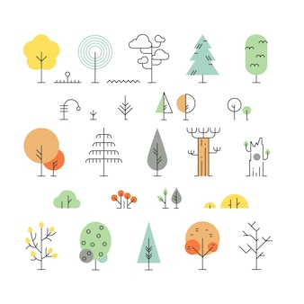 Forest trees line icons with simple geometric shapes