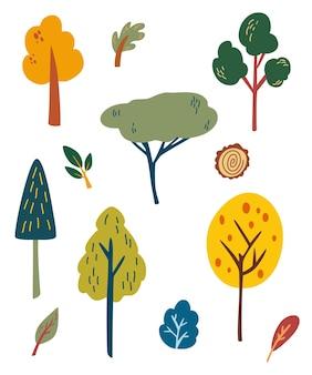 森の木が設定されます。漫画の森の植物、木の切り株、低木、草、葉。植物園。緑の自然フラット要素。白い背景で隔離の漫画ベクトルイラスト。
