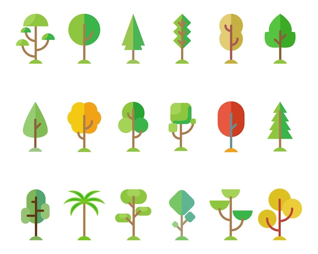 Forest trees set