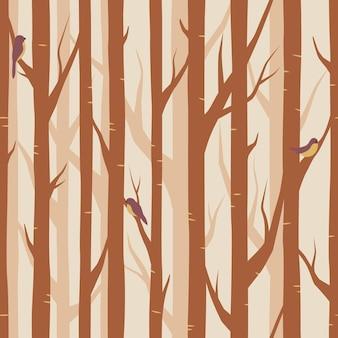 숲, 분기 원활한 패턴, 벡터 배경에 새와 나무