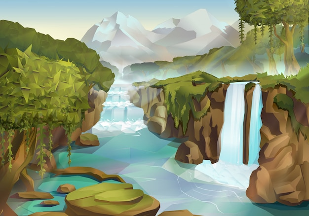 Forest and waterfall, nature landscape illustration