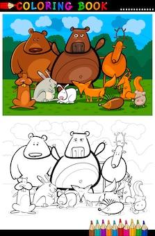 Лесные дикие животные мультфильм для раскраски
