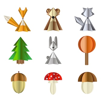 Forest wild animals and plants set