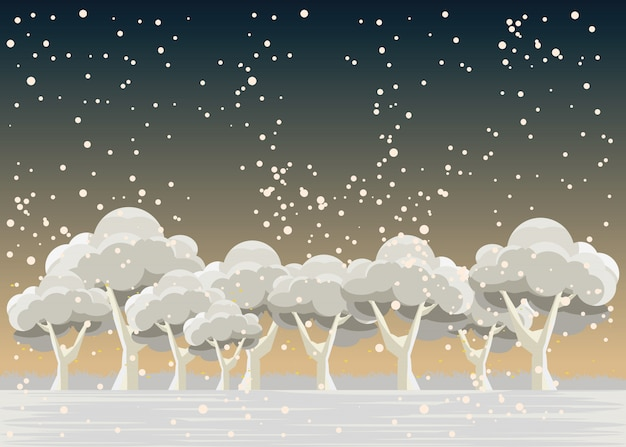 Forest in winters vector illustration