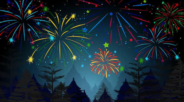 Forest with celebration fireworks scene