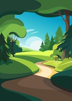 さまざまな木がある森。垂直方向の自然景観。