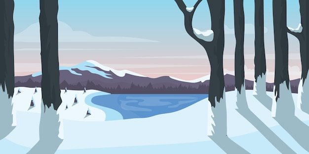 Лес с видом на озеро и горы зимой