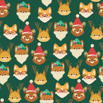 Forest/woodland and domestic animals. christmas seamless pattern or wallpaper