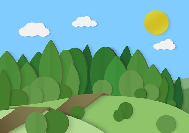 숲 숲 골 판지 종이 풍경