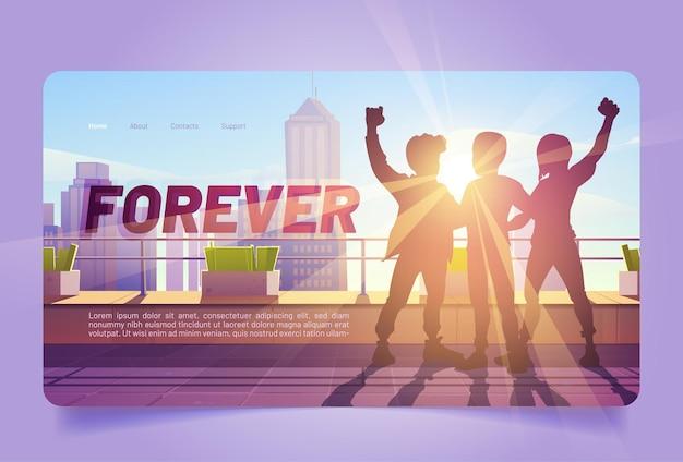 Abbraccio dei migliori amici della pagina di destinazione dei cartoni animati per sempre