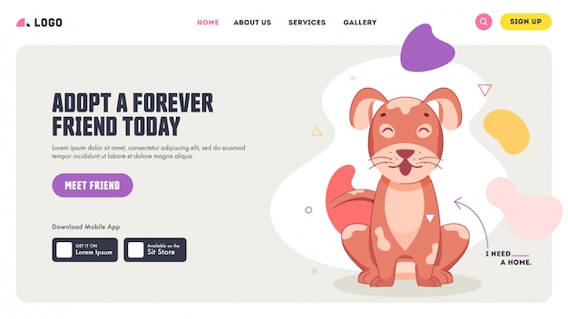 Принять дизайн лендинга forever friend today вместе с очаровательной собакой.