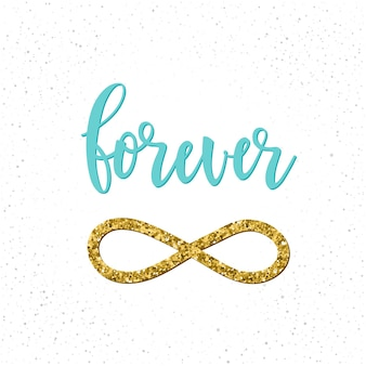 Forever. handwritten romantic quote lettering isolated on white. doodle handmade love sketch for design t-shirt, romantic card, invitation, valentines day poster, album, scrapbook etc. gold texture.