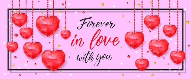 Навсегда в любви баннер с висячие сердца