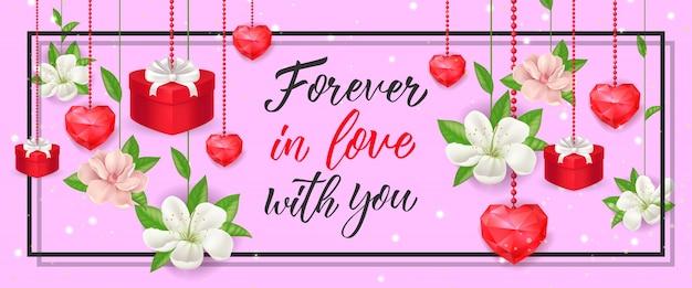 Навсегда в любви надпись с цветами