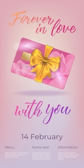 Forever in love with you lettering and plastic card with bow