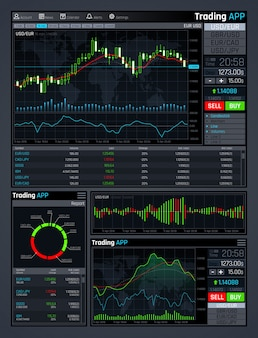 Forex market app interface with business financial market charts and global economics data graphs