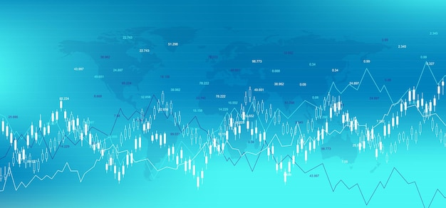 Forex stock market exchange background. financial web banner template for forex trading graph chart. forex trading indicators on white background, vector illustration.