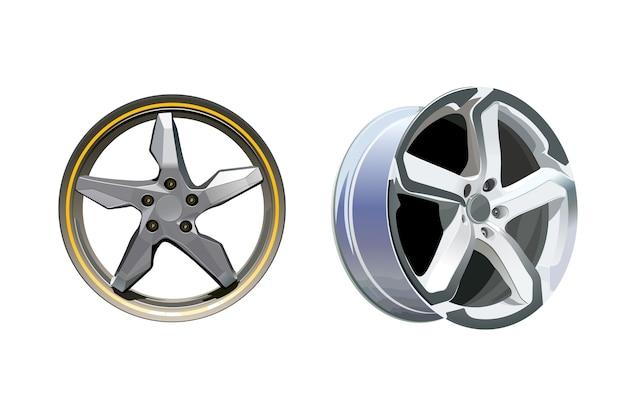 Кованые автомобильные диски на белом фоне