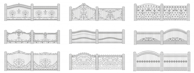 Forged gates and fences set.  linear design. outline illustration isolated on white.