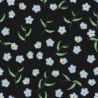 Forget me not flower and leaf seamless pattern