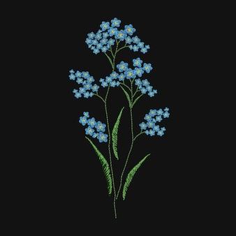 검은 바탕에 파란색과 녹색 실로 수 놓은 잊지 못할 꽃. 야생 꽃 초본 식물로 우아한 자수 디자인. 수공예품 또는 수공예품. 다채로운 그림.