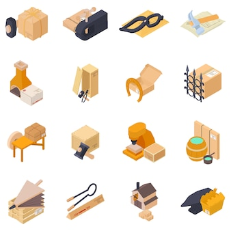 Forging delivery icon set