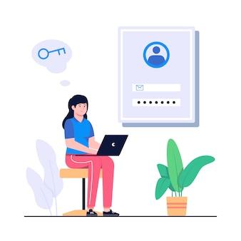 Forgot the password concept flat illustration