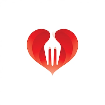Fork food and heart love logo