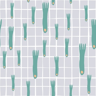 Fork hand draw seamless pattern on graybackground. simple style seamless cutlery pattern. minimal scandinavian design